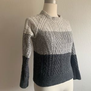 Marc Jacobs wool gray striped cable knit sweater S